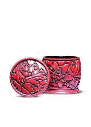 明剔红牡丹纹茶盒