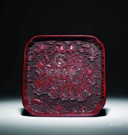 明剔红十八罗汉方盘