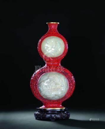 清中期剔紅鑲白玉賀壽圖葫蘆瓶