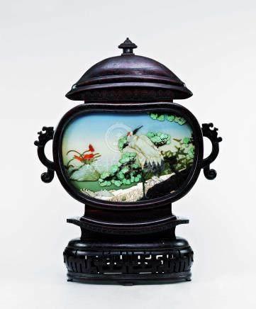 清中期嵌百寶松鶴如意寶瓶形大座屏