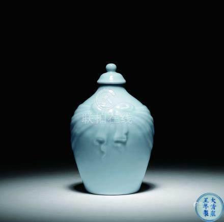 清雍正天青釉包袱瓶