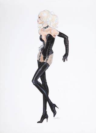 PAMELA ANDERSON LEE BARB WIRE COSTUME SKETCH