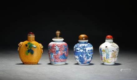 A set of four porcelain snuff bottles