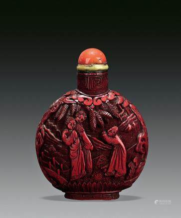 A carved cinnabar lacquer snuff bottle with box