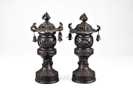 Two Japanese pavilion bronze censers