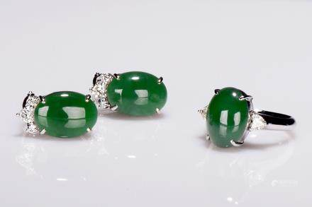 A jadeite jade diamond earring and ring trio set