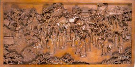 A Chinese hardwood relief with figure scenery, 20th c., the