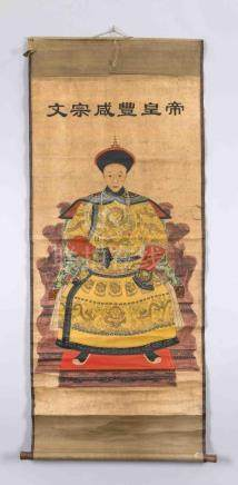 A Chinese hanging scroll with a portrait of a Chinese empero