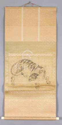 A Chinese republic-period hanging scroll with a tiger, ink o