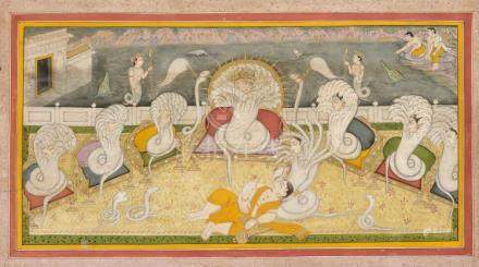 An Indian painting, Pahari, Mid 19th c., polychrome pigments