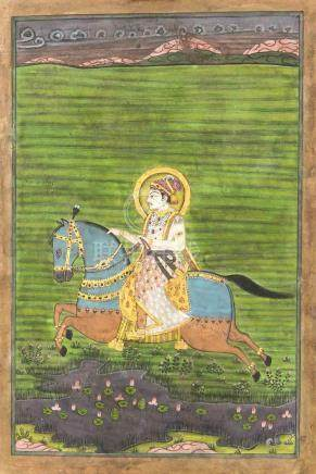 An Indian painting, Rajasthan School, late 19th c., polychro