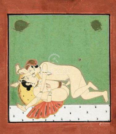 An erotic painting, India, late 19th/early 20th c., polychro