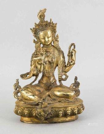 A bronze Buddha, China, 1st half of 20th c., figure in the r
