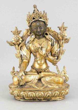 A bronze Buddha, China, 20th c., gilt and painted blue, Budd