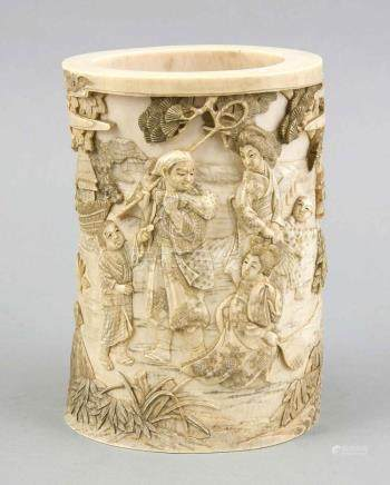 A Chinese ivory carving, late Qing period (1644-1911), the s
