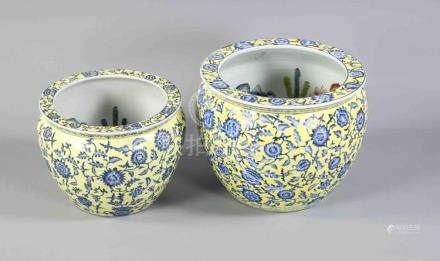 2 fishbowls, China, 20th c., porcelain, bulgy form with a co