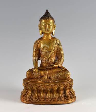 Chinese gilt bronze Buddha on double lotus throne, Kangxi six character mark but later, 28.5cm