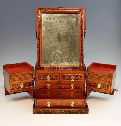 Chinese red and black lacquered travelling dressing table box with metal mounts, fold-out mirror,