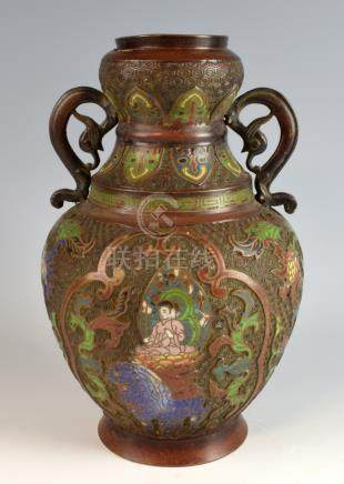 Chinese cloisonne vase with floral and figural decoration, 30cm high,