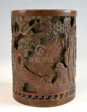 Chinese bronze brushpot with two layers of decoration of figures in a landscape, raised marks to