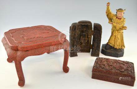 Chinese cinnabar lacquered miniature table decorated with a landscape scene, on cabriole legs,