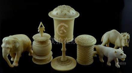 Late 19th century Chinese ivory miniature goblet and cover, 10 cms high, an ivory Chinese round box,