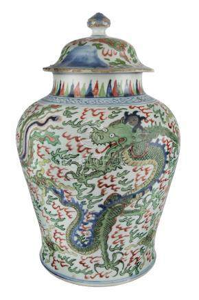 A LARGE WUCAI 'DRAGON AND PHOENIX' JARMid 17th century38 cm highRichly pain