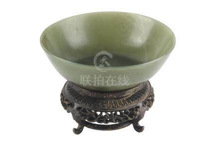 A GREEN JADE BOWLIncised Jiaqing four-characters mark and of the period3,5