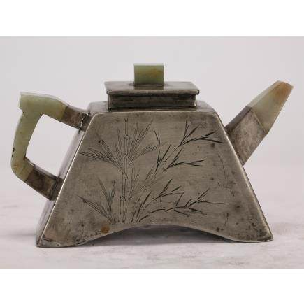 CHINESE PEWTER TEA POT WITH JADE INLAID