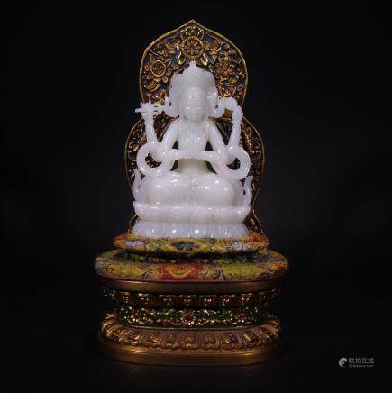 A Carved Hetian Jade Guanyin Statue