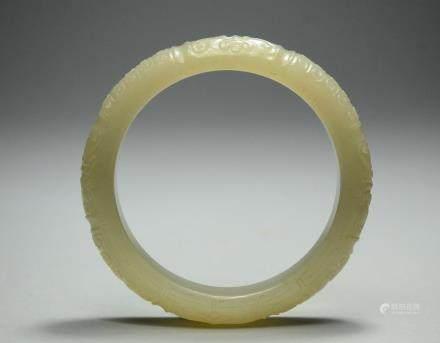 A Carved Hetian Bracelet