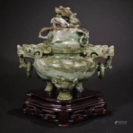 A Carved Jade Tripod Censer