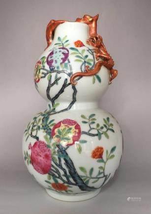 Qianlong Mark,A Famille Rose Gourd Vase