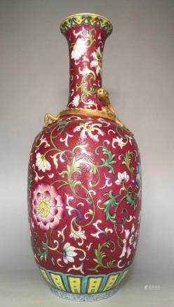 Qianlong Mark,A Red Ground Famille Rose Vase