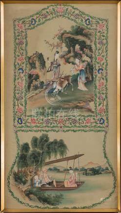 Seda china pintada a mano. Trabajo Chino, Finales del siglo XIX.