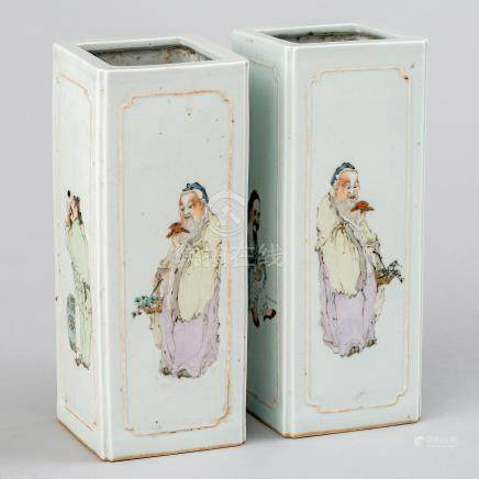 Pareja de jarrones cuadrangulares en porcelana china. Trabajo Chino, Siglo XIX-XX.