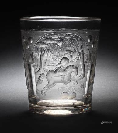 A Bohemian engraved beaker, circa 1680-1700