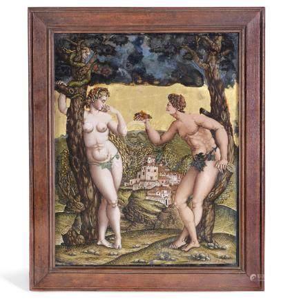 A façon de Venise reverse-painted glass picture, circa 1570