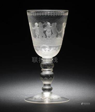 A Potsdam engraved goblet in the manner of Gottfried Spiller, circa 1700-15
