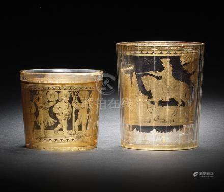 Two Bohemian zwischengoldglas beakers, mid 18th century