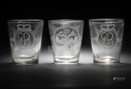 Three Russian glass tumblers commemorating the Empress Elizabeth, circa 1741-62