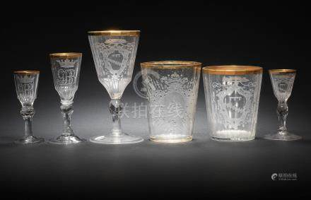A suite of Silesian engraved glass, mid-18th century