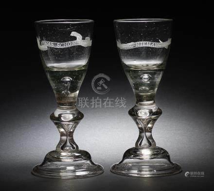 A pair of Lauenstein wine glasses, circa 1760