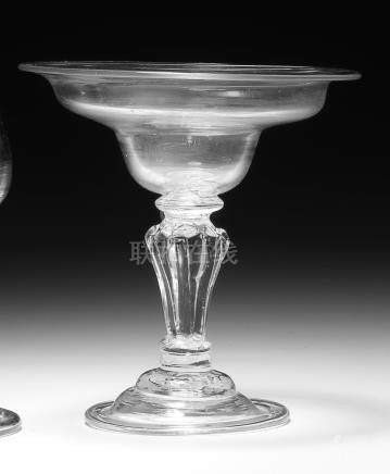 A baluster sweetmeat or champagne glass, circa 1740