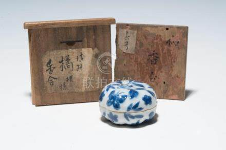 A Chinese Blue and White Porcelain Box and Cover