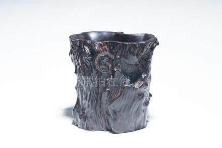 A Carved Wooden Brush Pot