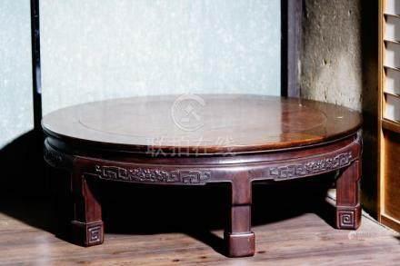 A Burlwood Inlaid Rosewood Table