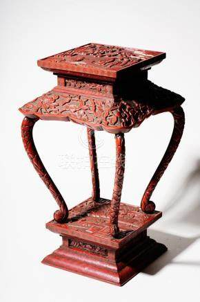 A Cinnabar Lacquer Stand