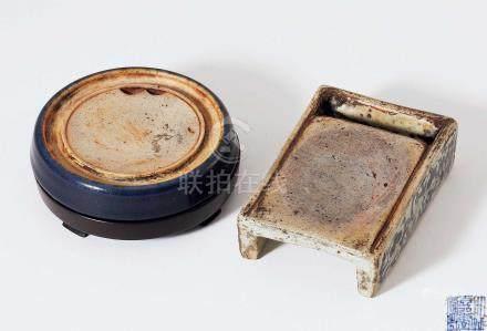 琉璃釉圓硯·青花長方硯 一組二件