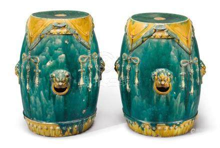 A PAIR OF CHINESE TURQUOISE AND AMBER-GLAZED GARDEN STOOLS L